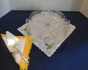 Antique 1910 EAPG Cake Stand Made by McKee Brothers Glass Co. Pattern called- Aztec Sunburst or McKee Sunburst, Antique Cake Stand, Wedding!