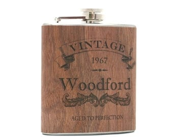 Personalized flask birthday gift, Wood flask, unique birthday gift for man