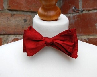 The Selfie! / Pure Red Silk Self Tie Bowtie / Gifts for him/ Wedding Bow Tie/ Groom