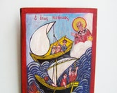 Saint Nicholas and sailors icon, vintage, Greek folk art icon of St. Nicholas, saving sailors in danger, salvaged wood, folk art painting