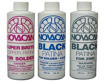 Novacan Patina 3 Bottle Variety Pack Black / Copper Stained Glass Supplies