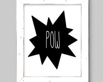 Black and White Superhero POW - Wall Print - Minimal - 8x10