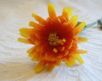 Vintage Millinery Flower Orange Yellow Silk Small Aster Blossom for Hats Hair Clips Crowns Crafts NOS Germany