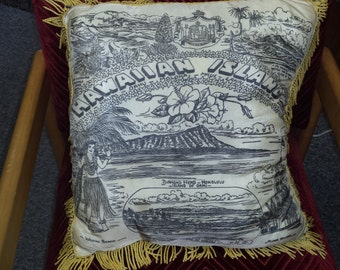 Vintage Souvenir Hawaiian Island Pillow