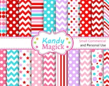BUY 2 Get 1 FREE  20 Digital Papers. 6 Tone in Valentine Red Purple Pink Blue (10 no 5) for Personal Use Small Commercial Use Scrapbooking
