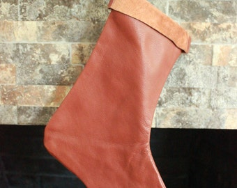 Brown Leather Christmas Stocking - 100% Hand Made in the USA. Monogramming Available.