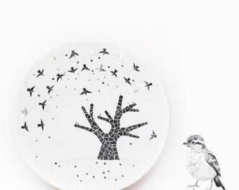 White mosaic dish with black tree - Graphic - Glass mosaic - Interior Dish - Birds