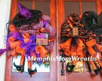 Custom Deco Mesh Halloween Witch Wreath - Witch Legs Wreath - Halloween Wreath - Witch Wreath - Witch Hat Wreath