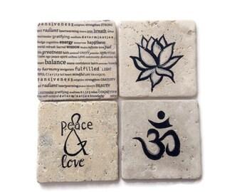 "Yoga Coasters - Spiritual Decor -  Decorative Tiles - Peaceful Decoration - ""OM"""
