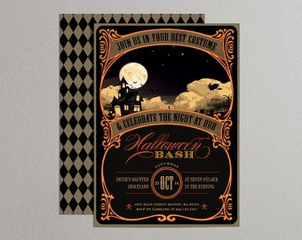 Printable Halloween Invitation in black, orange and yellow - DIY party invitation