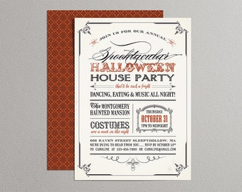 Printable Halloween Invitation - Vintage Halloween Invitation
