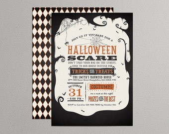 Printable Halloween Invitation - Vintage Poster Style Halloween Invitation