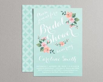 Printable Bridal Shower Invitation (mint, blush pink & peach) - Vintage Floral Invitation - Spring/Summer Bridal Shower