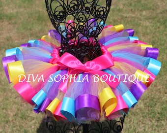 Bright Colorful Ribbon Tutu - Newborn Baby Infant Tutu - Toddler Tutu