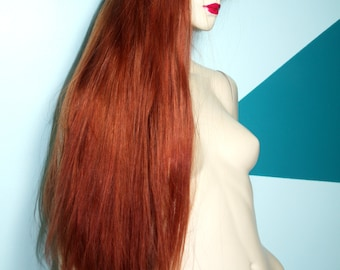 Auburn Red Front Lace Wig Wigs Remi Remy Indian Human Hair Long Straight Silky