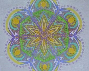 snowflake lavender green, print of original art