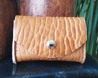 Leather Business Card Holder Large Sheepskin Handmade Hand stitched Oak colour