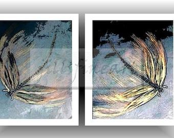 Giclee Dragonfly art print Colorful Art print vibrant colors Original Art Luster Art Print Flying Dragonfly byjillsfineart
