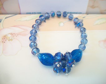 Faceted Blue Beaded Stretch Bracelet Glass Beads