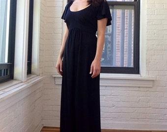 1970s Flutter Sleeve Maxi Dress