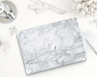 Carrara White Marble Metallic Silver Detailing Hybrid Hard Case for Apple Macbook Air & Mac Pro Retina, New Macbook 12""