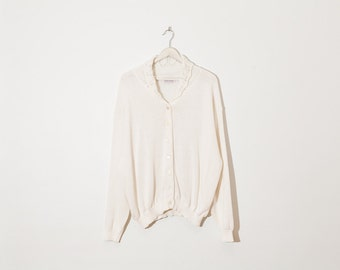 on sale - off-white button-up knit / cream collared cardigan / size L / XL