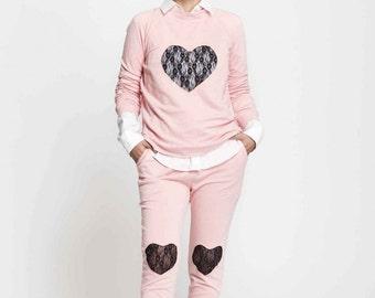 pink pants - cool pants - women's loungewear - lounge wear - cotton pajama pants - cotton pants - french terry pants