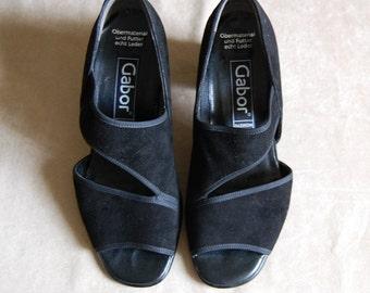 vintage 1980s bandeau heels / black suede strappy heels / size 6