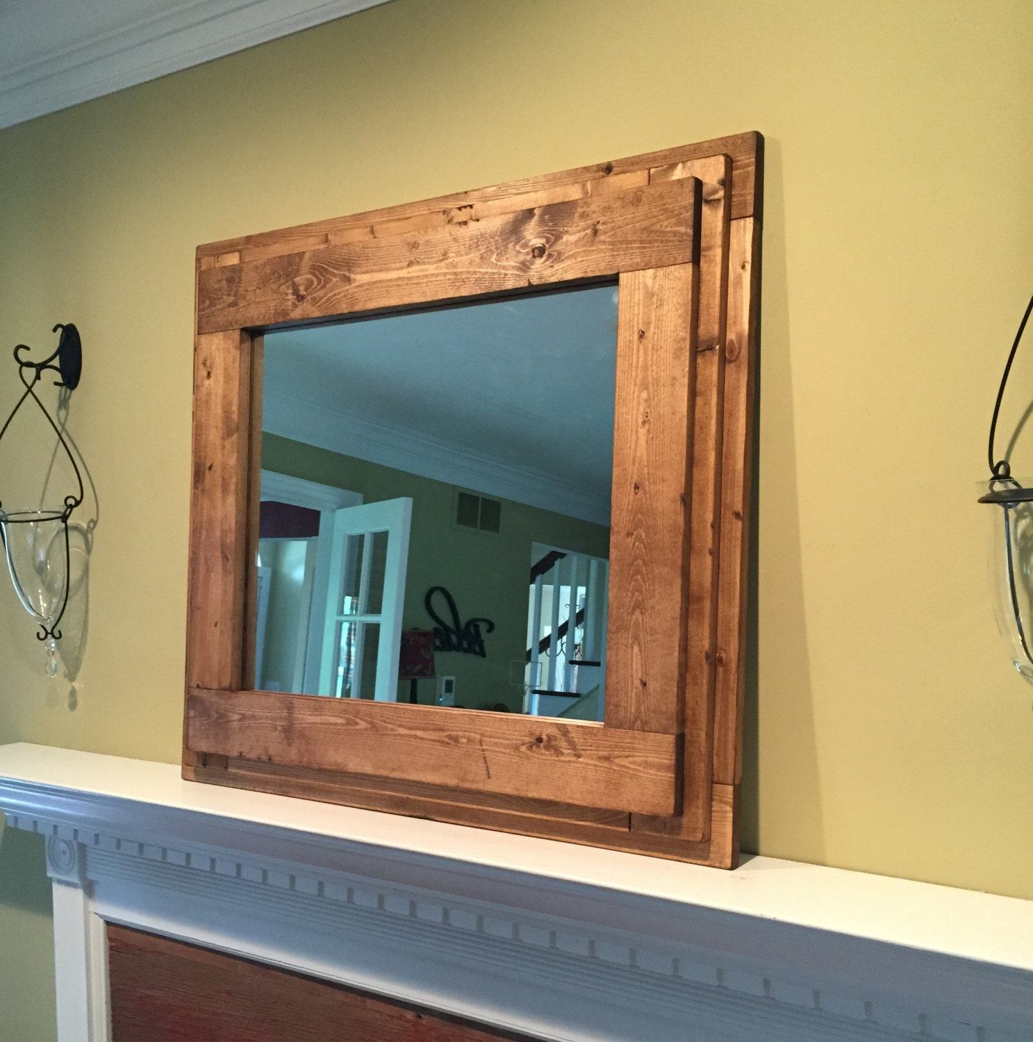 Bathroom mirrors wood frame - The Farm House Mantle Vanity Bathroom Mirror Handmade Rustic Inspired Wooden Mirror Thick Frame