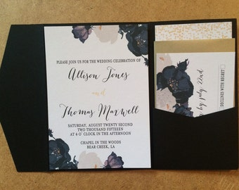 Black and gold Floral Wedding Invitation DEPOSIT