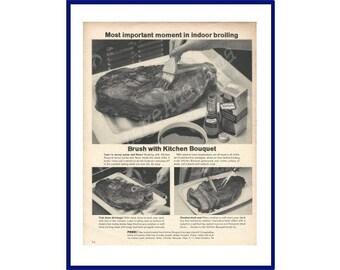 KITCHEN BOUQUET Original 1962 Vintage Extra Large Black & White Print Ad - Broiled Steak Being Brushed w/ Kitchen Bouquet