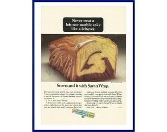 "SARAN WRAP Original 1966 Vintage Color Print Ad - Plastic Food Wrap ""Never Treat A Leftover Marble Cake Like A Leftover"""