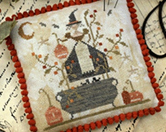Primitive Cross Stitch Pattern Witches Night Out - Choose Pattern Only or Pattern w/Floss Kit