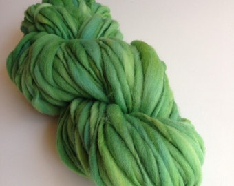 Handspun Thick and Thin Merino Yarn - 50 yds - Leafy