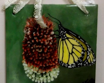 Monarch Butterfly Slate Painting
