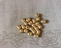 "20 pcs. Brass Necklace Cord End Tips Barrel Brass Tone Blank (Fits 3.5mm( 1/8"") Cord) 6.0mm( 2/8"") x 5.5mm( 2/8"")"