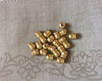 """20 pcs. Brass Necklace Cord End Tips Barrel Brass Tone Blank (Fits 3.5mm( 1/8"""") Cord) 6.0mm( 2/8"""") x 5.5mm( 2/8"""")"""