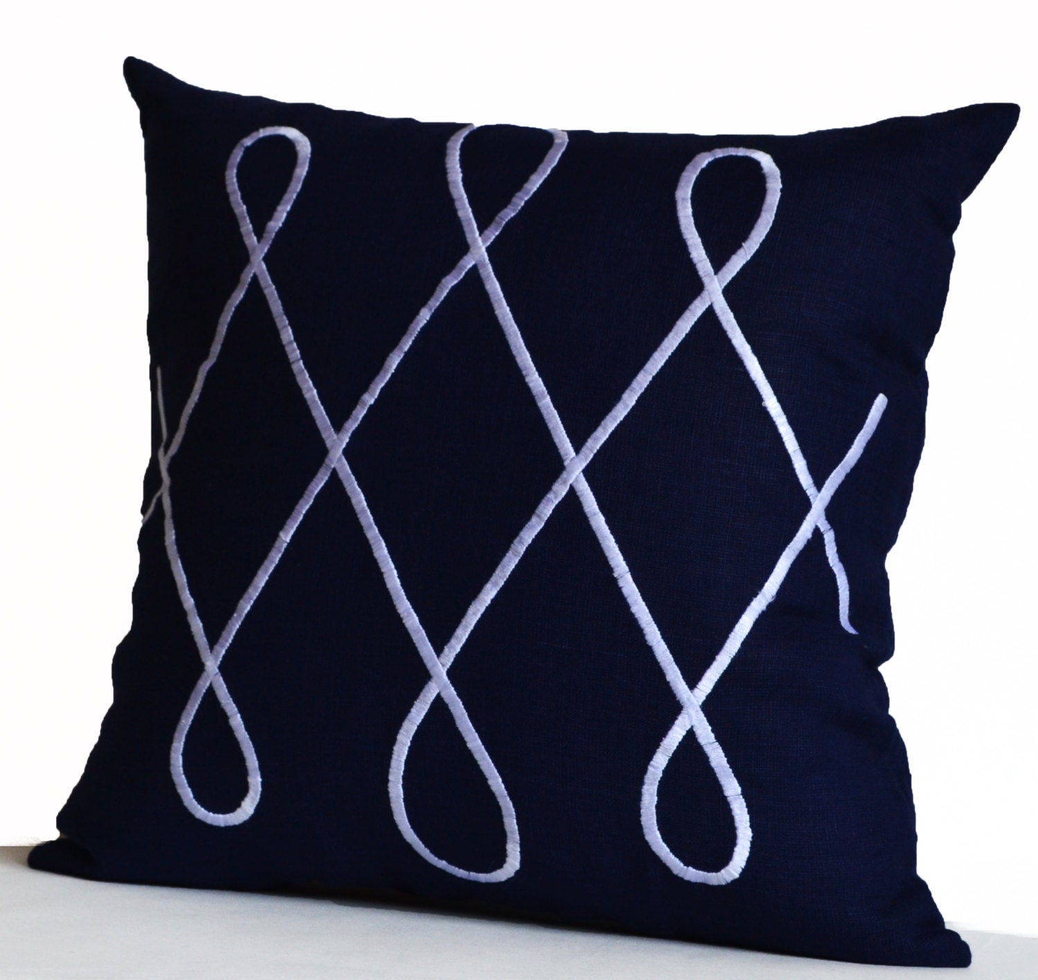 Blue Throw Pillow Cover Navy Linen Geometric Decorative