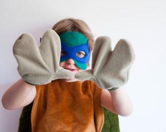 Turtle 3 Finger Gloves, Children's or Adult's Photo Prop, Pretend Play, Beige Tan