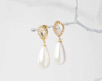 Gold crystal pearl drop earrings, bridal jewelry, wedding jewelry
