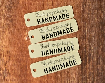 Rectangle Thank You for Buying HANDMADE Hang Tag, Swing Tag, Packaging Tag with Black Print (Set of 50)