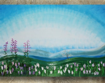 "Alaska spring painting Large wall art on canvas ""Spring 42"" white tulips sakura cherry blossom meadow blue green landscape by Ksavera"