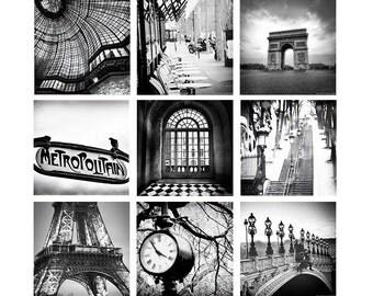 Paris Black and White Print Set - SET of 9 prints paris photography 8x10print paris gallery wall set bedroom wall decor eiffel tower 5x7 4x6