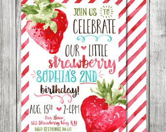Strawberry Birthday Invite - Our Little  Strawberry - 5x7 JPG (Front and Back Design)