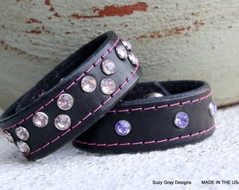 Stackable Black Leather Bracelet with Pink and Purple Crystals - Black Leather Bracelet for Women