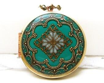 Blue/Green Filigree Locket, Vintage Locket, Filigree Diamond Locket, Photo Locket, Valentine Gift For Her,  Wedding Locket Picture Locket