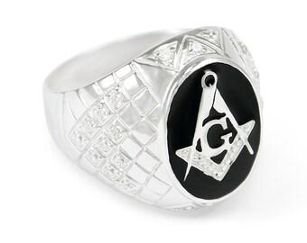 Sterling Silver Masonic Ring with Black Enamel and CZs// Freemasonry rings// Fraternity Rings// Masonic // Masons// Fraternity Gifts