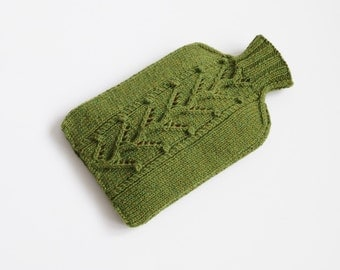 Knitted Hot water bottle Cosy, Cover, Olive Green - PINNER