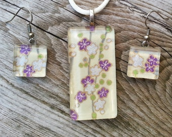 Lavender, White, Lime Green Chiyogami paper glass tile pendant and earring set