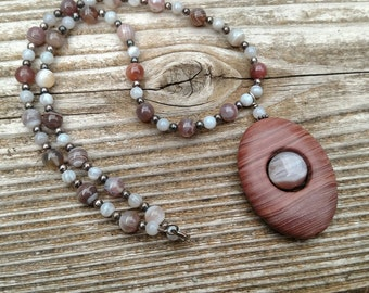 16 inch Beaded Necklace with Sterling Silver and Botswana Agate and Picture Jasper stones